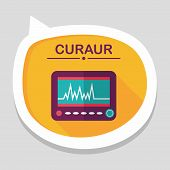 picture of icu  - Monitor In The Icu Flat Icon With Long Shadow - JPG