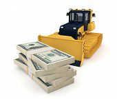 picture of bulldozer  - Yellow bulldozer and big stack of dollars - JPG