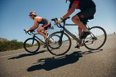 foto of  practices  - Action shot of a racing cyclists - JPG