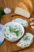 foto of curd  - Slices of baguette with cottage cheese parsley garlic on a cutting board - JPG