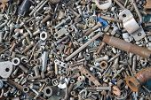 foto of bolt  - A lot of old bolts and nuts - JPG