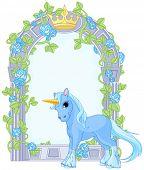 foto of unicorn  - Illustration of standing beautiful cute unicorn close to flower frame - JPG