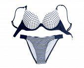 picture of white satin lingerie  - Blue polka dot bra and panties set - JPG