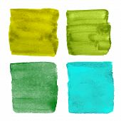 picture of olive shaped  - Collection of four hand drawn green watercolor square shapes and banners - JPG
