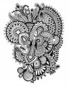 image of trippy  - black and white zentangle line art flower drawing - JPG