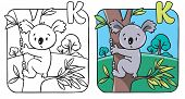 Постер, плакат: Coloring book with funny koala Alphabet K