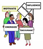 picture of encouraging  - Cartoon of businesspeople defining the characteristics associated with motivate - JPG