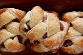 image of phyllo dough  - Apple strudel on a wooden surface - JPG