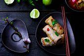 stock photo of thai cuisine  - fried spring rolls - JPG