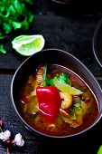 picture of thai cuisine  - soup Tom yam kung  - JPG