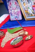 stock photo of hindu  - Hindu religion items ready for ritual of Mother Earth before building an object - JPG