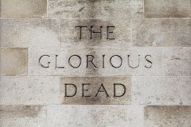 image of glorious  - The Glorious Dead inscription on the Cenotaph War Memorial located on Whitehall in London - JPG
