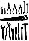 Vector illustration set of 15 different tools.