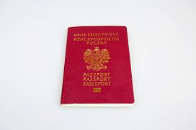 stock photo of passport cover  - Polish passport isolated on a white background - JPG