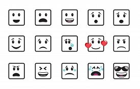 foto of angry smiley  - Set of smiley square icons in different emotions and moods - JPG