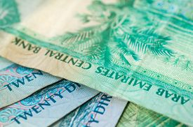 picture of dirham  - Background from banknotes of dirhams of the United Arab Emirates - JPG