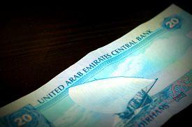 image of dirham  - Banknote in twenty dirhams of the United Arab Emirates close up - JPG
