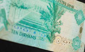image of dirham  - Ten dirhams of the United Arab Emirates close up - JPG