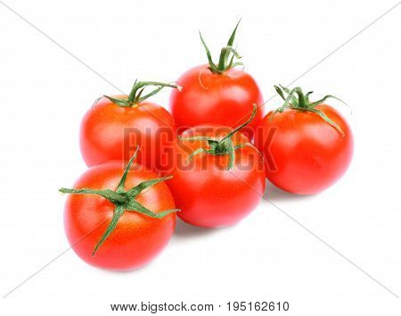 poster of Whole, ripe, juicy, fresh and organic bright red tomatoes with leaves. A lot of an organic, juicy, fresh, healthful bright red tomatoes, isolated on a white background.