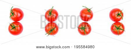 poster of Ripe, raw, juicy, fresh, healthy, organic bright red tomatoes with green leaves, isolated on a white background. A lot of cherry tomatoes. Organic tomatoes for a salad. Set of fresh tomatoes, top view. Summer harvest from a garden.
