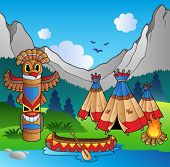 picture of teepee  - Indian village with totem and canoe  - JPG