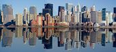 Panorama of Manhattan skyline with water reflection