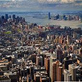 An aerial view of Lower Manhattan and New York Harbor
