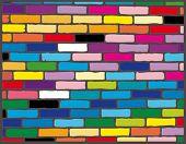 Fondo retro de un ladrillo multicolor