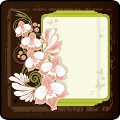 floral  retro background: branch of orchid and banner VECTOR (See Jpeg Also In My Portfolio)