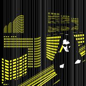 vector design: nightly city and man in black glasses in the rain