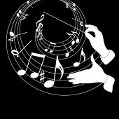 Manos de tema y conductor de música sobre un fondo negro