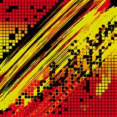 Abstract background Red, Decorated with squares, grunge elements and stripes on a dark background. V