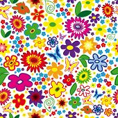Raster Seamless Floral Background with flowers and butterflies. (See vector version  Also In My Portfolio)