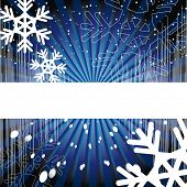 Raster version. Holiday background. Decor with rays, and the EQ snowflakes on a blue background.