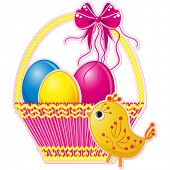 Easter basket with pink bow and a cute chicken