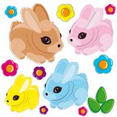 Set of Easter rabbits
