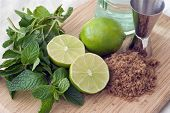 ingredients for a mojito cocktail drink