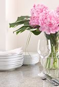 place setting & white dishes, peonies - entertaining at home