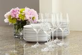 glasses, plates & peony flowers - entertaining at home
