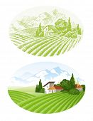 Hand drawn vector landscape with agrarian fields, village and mountains