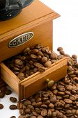 image of wooden box from coffee mill  - wooden coffee grinder with beans on white - JPG
