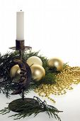 New Moon Candlestick With Christmas Decorations