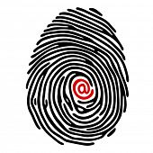 finger print with e-mail sign
