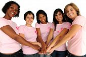 stock photo of breast-cancer  - diverse women united with breast cancer awareness ribbon - JPG