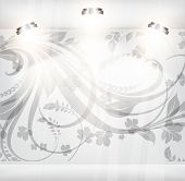 empty storefront with floral background. You can change colors for the background, eps10 vector