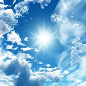 image of blue sky  - Blue sky with white clouds  - JPG