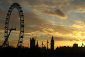 London Eye bei Sonnenuntergang