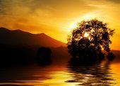 Beautiful dramatic Italian sunset