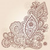 Hand-Drawn Abstract Henna Mehndi Abstract Flowers and Paisley Shaped Doodle Vector Illustration Desi
