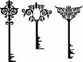 illustration with key silhouettes isolated on white background